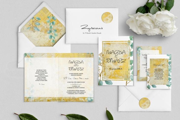 Zaproszenia ślubne Mgiełka - Składane Motyw 3
