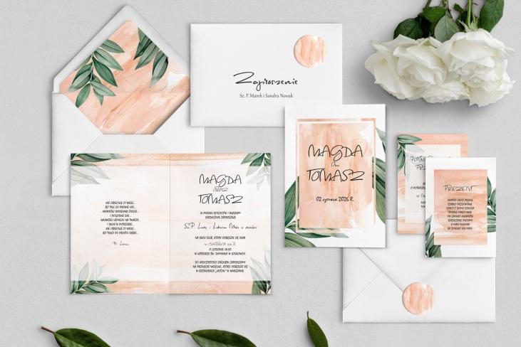 Zaproszenia ślubne Mgiełka - Składane Motyw 4