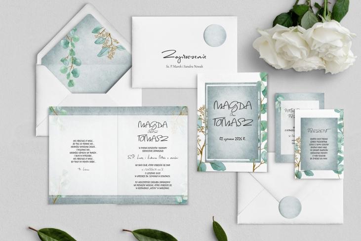 Zaproszenia ślubne Mgiełka - Składane Motyw 5
