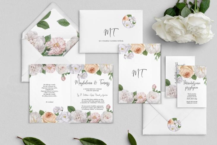 Zaproszenia ślubne Ofelia - Składane Motyw 3