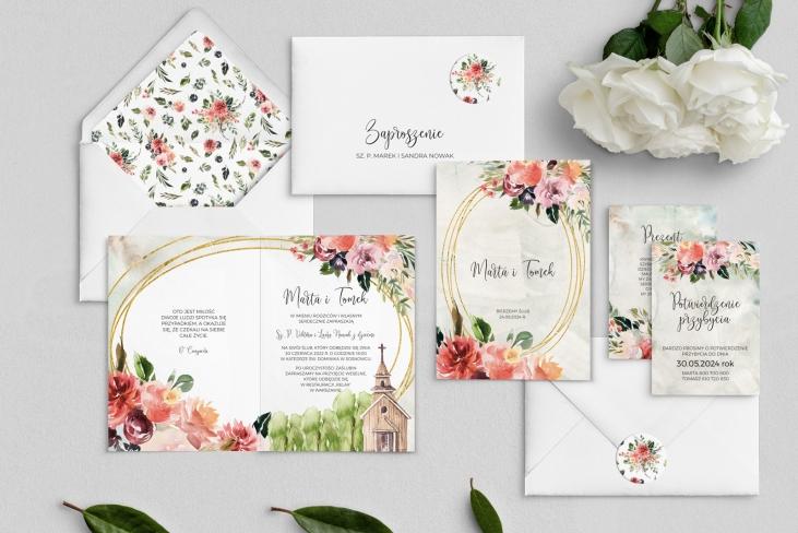 Zaproszenia ślubne Spring Love- Składane Motyw 1