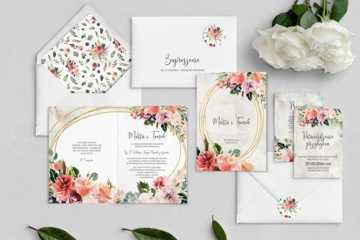 Zaproszenia ślubne Spring Love- Składane Motyw 2