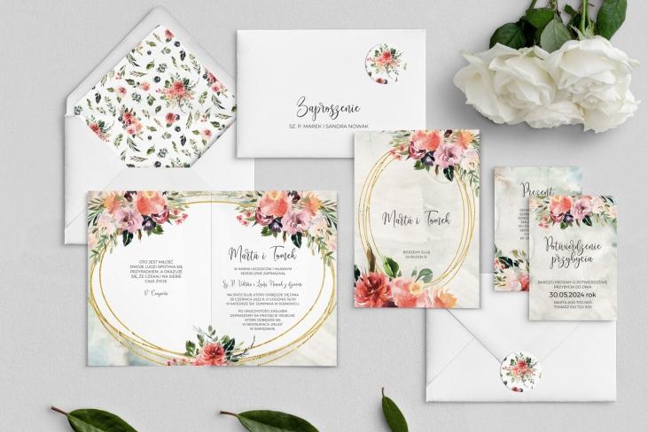 Zaproszenia ślubne Spring Love- Składane Motyw 3