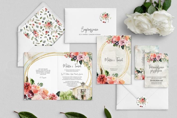 Zaproszenia ślubne Spring Love- Składane Motyw 4