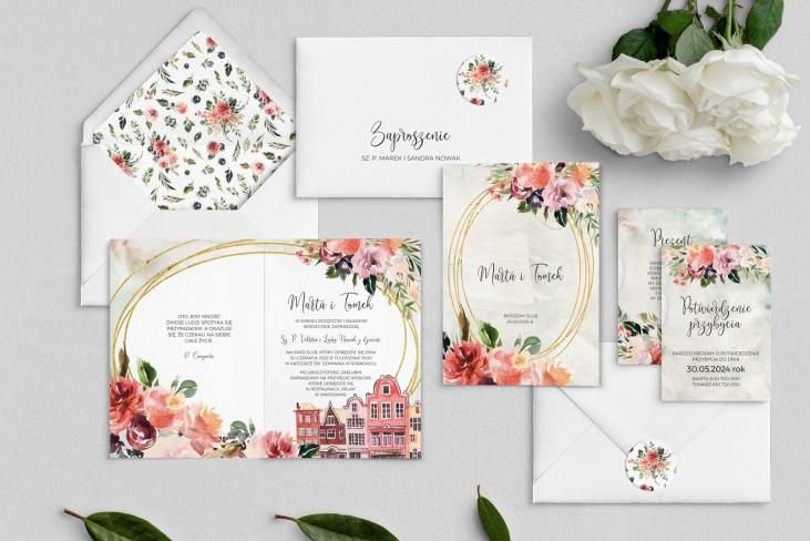 Zaproszenia ślubne Spring Love- Składane Motyw 5