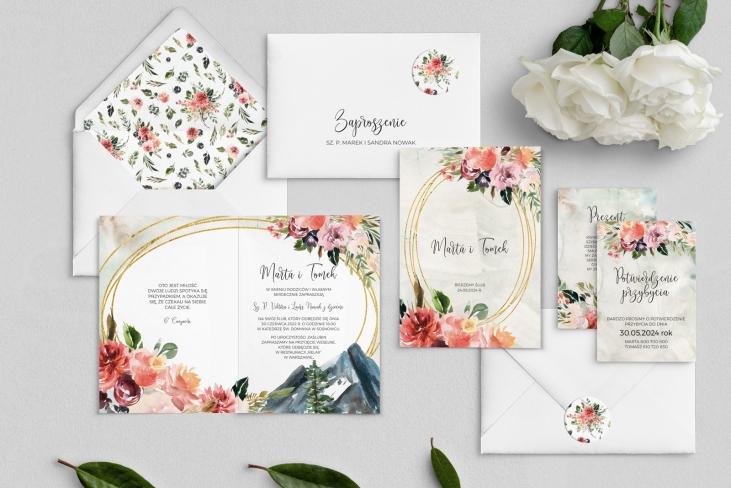 Zaproszenia ślubne Spring Love- Składane Motyw 6