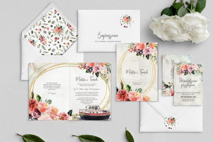 Zaproszenia ślubne Spring Love- Składane Motyw 7