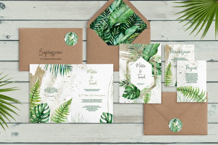 Zaproszenia ślubne Tropical- Składane Motyw 1