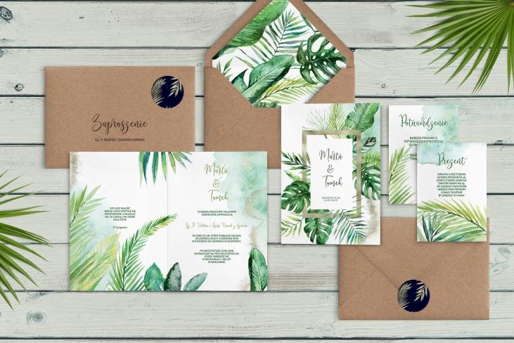 Zaproszenia ślubne Tropical- Składane Motyw 2