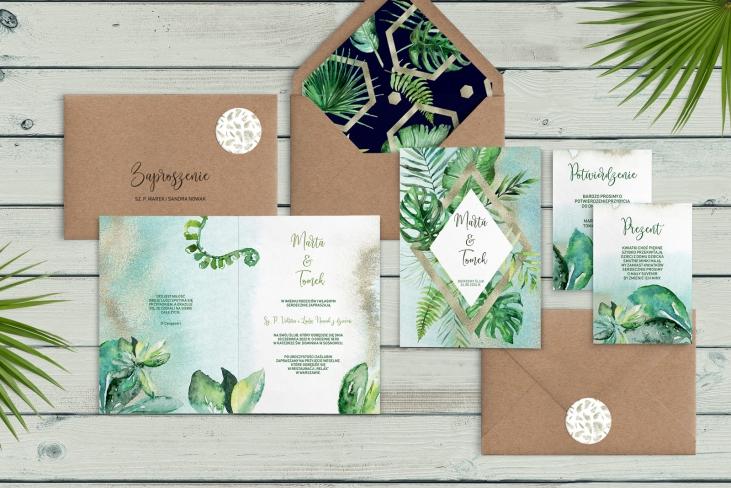 Zaproszenia ślubne Tropical- Składane Motyw 3