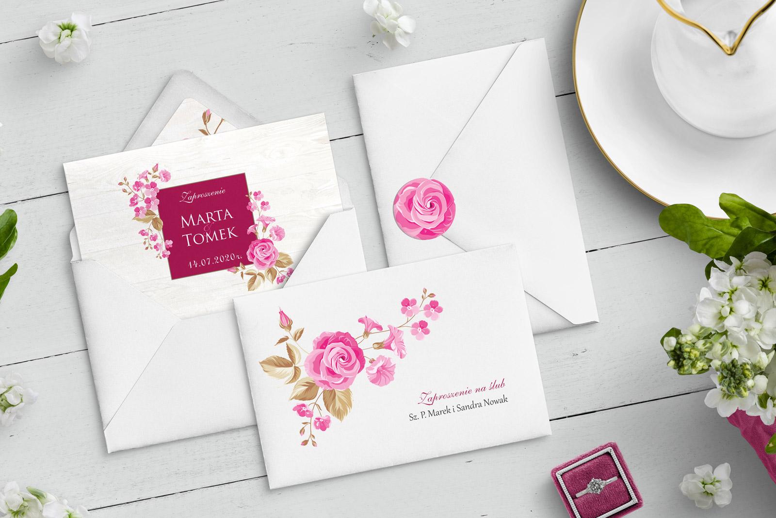 Rustykalne Zaproszenia ślubne Kwiatowe Kolekcja Biała Stodoła